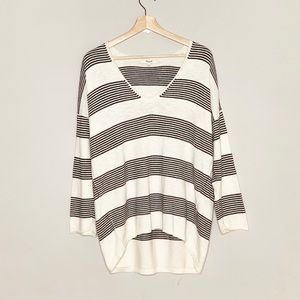 MADEWELL off white black striped knit top large